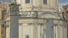 Seagull on top of a pillar and Chiesa Santissimo Nome di Maria in Rome Stock Footage