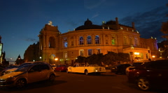 Old opera house in Odessa, Ukraine at night, illuminated Stock Footage