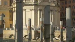 Ruined columns and Chiesa Santissimo Nome di Maria in Rome Stock Footage