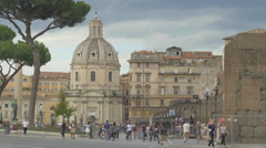 People walking near Trajan's Market and Chiesa Santissima Nome di Maria, Rome Stock Footage