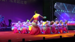 Chinese cheerleaders on stage during a dance competition in Guilin - stock footage
