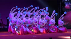 Chinese traditional dance performance at night, on stage, competition, festival Stock Footage