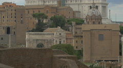 Dome of Chiesa dei Santi Luca e Martina and back of Palazzo Senatorio,  Rome Stock Footage