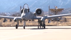 TUCSON, JANUARY 2016, US Soldier Fix Refueling Pipe A-10 Thunderbold Aircraft Stock Footage