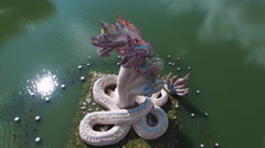 Snakes Statue, Dragon Aerial Side View, Partially Stationary Stock Footage
