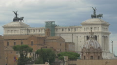 The dome of Chiesa dei Santi Luca e Martina and back of Palazzo Senatorio, Rome Stock Footage