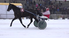 Unidentified rider at horse amateur competition in winter. 4K Stock Footage