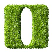 Letter I made of green leaves Stock Photos