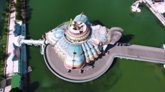 Elephant Temple, Left side to Front, Aerial Overhead View Stock Footage