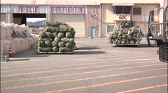 JAPAN, JANUARY 2016, Baggage US Soldiers load Airport Stock Footage