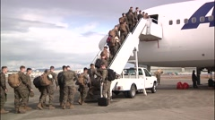JAPAN, JANUARY 2016, US Soldiers Enter Aircraft Stock Footage