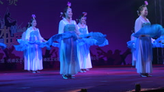 Traditional fans and dresses, dance competition in China, culture Asia - stock footage