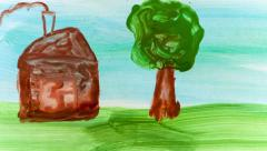 Child's hand drawing pictures. Time lapse. Stock Footage