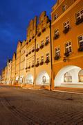 Jelenia Gora Old Town Houses by Night in Poland Stock Photos