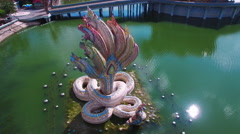Snakes Statue, From Back Left , Aerial View, Spiral, Overhead Stock Footage
