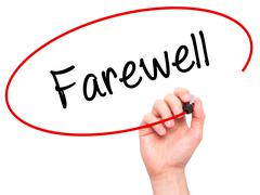 Man Hand writing Farewell  with black marker on visual screen - stock photo