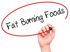 Man Hand writing Fat Burning Foods with black marker on visual screen - stock photo