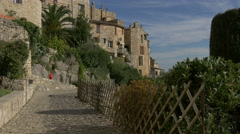 Cobblestone street with palm trees and other plants near the Tourrettes-sur-Loup Stock Footage