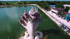 Snakes Statue Dragon 360 Aerial View Stock Footage