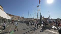 Le Girelier and Le quai restaurants on Quai Jean Jaurès, in Saint-Tropez Stock Footage