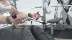Demonstration of exercise for arms and body, by the world champion - stock footage