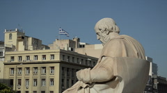 Scientist Plato Looks at the Greek Flag Stock Footage