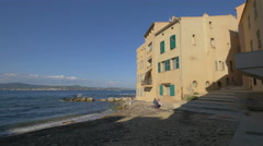 Beautiful houses on the seaside in Saint-Tropez Stock Footage