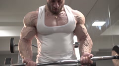 Demonstration of deadlift of the strongest man with with distinct veins on arms - stock footage