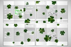 Vector set of tri-fold brochure design template. St Patricks day background - stock illustration