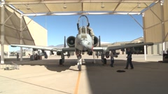 TUCSON USA, JANUARY 2016, A-10 Thunderbold Aircraft In Parking Position Hangar Stock Footage