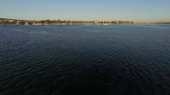 4k San Diego Coronado Bay Sun Rise Boats 007 Fly Over Stock Footage