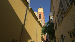 The belfry of Church of Our Lady of the Assumption in Saint-Tropez - stock footage