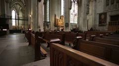 Steadycam view of interior of Cologne Cathedral. Stock Footage