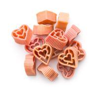 heart shaped pasta - stock photo