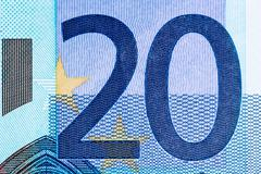 The number twenty on a bank note (macro number twenty) - stock photo