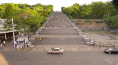 Potemkin Stairs, Odessa, Ukraine, people are climbing long steps Stock Footage