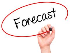 Man Hand writing Forecast with black marker on visual screen Stock Photos