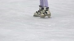 Female skater on ice and skate around, 4k - stock footage