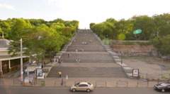 Giant urban steps, Potemkin Stairs, Odessa, Ukraine Stock Footage