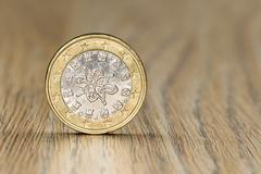 Close up of a Portugese one euro coin - stock photo