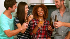Friends toasting with beers and wine Stock Footage