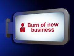 Stock Illustration of Finance concept: Burn Of new Business and Business Man on billboard background