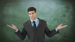 Unsettled businessman with open hands Stock Footage