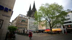 Walk along a street in the central area of Cologne. Stock Footage
