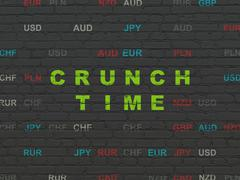 Business concept: Crunch Time on wall background - stock illustration