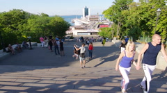 People are on Potemkin Stairs, Odessa, Ukraine, time lapse Stock Footage