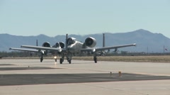 TUCSON USA, JANUARY 2016, US Air Force Two A-10 Thunderbolt Aircraft Roll Along Stock Footage