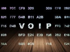 Web design concept: VOIP in grunge dark room - stock illustration