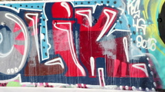 Swedish graffiti painted on a wall in a legal graffiti park Stock Footage
