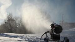 Beautiful picture of a machine that makes snow in a Swedish ski slope Stock Footage